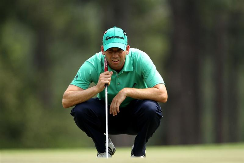 AUGUSTA, GA - APRIL 09:  Sergio Garcia of Spain lines up a putt on the eighth hole green during the third round of the 2011 Masters Tournament at Augusta National Golf Club on April 9, 2011 in Augusta, Georgia.  (Photo by Andrew Redington/Getty Images)