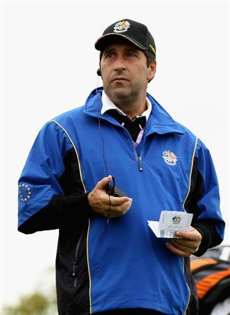NEWPORT, WALES - OCTOBER 02:  European Team vice captain Jose Maria Olazabal is seen during the rescheduled Afternoon Foursome Matches during the 2010 Ryder Cup at the Celtic Manor Resort on October 2, 2010 in Newport, Wales.  (Photo by Ross Kinnaird/Getty Images)