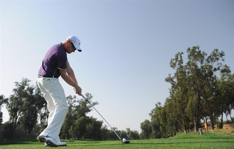 AGADIR, MOROCCO - MARCH 31:  Simon Dyson of England plays a shot during the first round of the Trophee du Hassan II Golf at the Golf du L`Ocean on March 31, 2011 in Agadir, Morocco.  (Photo by Stuart Franklin/Getty Images)