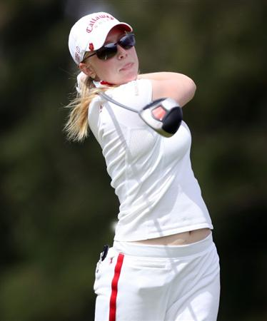 KAHUKU, HI - FEBRUARY 12:  Morgan Pressel hits her tee shot on the 3rd hole during the first round of the SBS Open on February 12, 2009  at the Turtle Bay Resort in Kahuku, Hawaii.  (Photo by Andy Lyons/Getty Images)