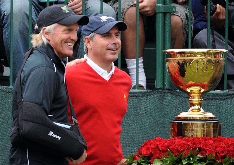 SAN FRANCISCO - OCTOBER 08:  International Team captain Greg Norman and USA Team captain Fred Couples pose on the first tee during the Day One Foursome Matches of The Presidents Cup at Harding Park Golf Course on October 8, 2009 in San Francisco, California.  (Photo by Harry How/Getty Images)