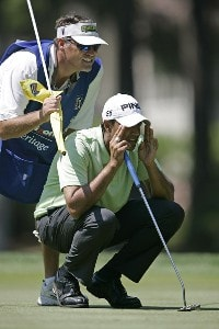 Arjun Atwal on the 15th hole during the second round of the Verizon Heritage Classic being played at the Harbour Town Golf Links in Hilton Head, South Carolina on April 14, 2006.Photo by Mike Ehrmann/WireImage.com