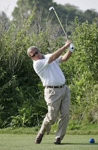 Fuzzy Zoeller hits a tee shot during the second round of the U.S. Senior Open at Prairie Dunes Country Club in Hutchinson, Kansas on July 7, 2006.Photo by G. Newman Lowrance/WireImage.com