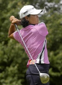 Kim Saiki tees off on the sixth hole during the first round of the Wegmans LPGA in Rochester, New York, Thursday, June 22, 2006.Photo by Kevin Rivoli/WireImage.com