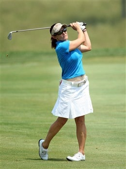 HAVRE DE GRACE, MD - JUNE 07:  Rachel Hetherington of Australia hits her second shot at the 1st hole during the third round of the 2008 McDonald's LPGA Championship held at Bulle Rock Golf Course, on June 7, 2008 in Havre de Grace, Maryland.  (Photo by David Cannon/Getty Images)