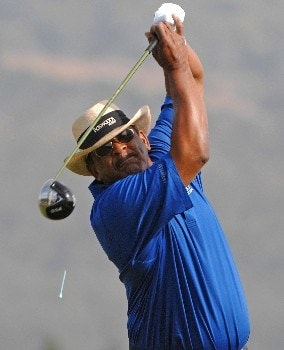SONOMA, CA - OCTOBER 26:  Jim Thorpe tees off the 3rd hole during the second round of the Charles Schwab  Cup Championship on October 26, 2007 at the Sonoma Golf Club in Sonoma, California  (Photo by Marc Feldman/Getty Images)