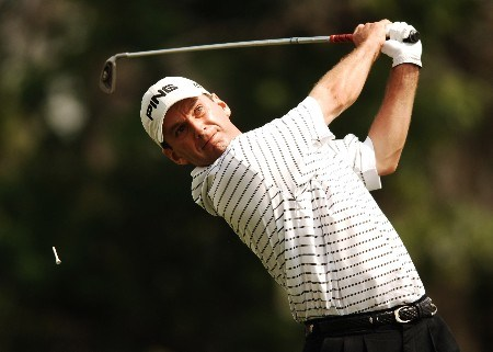 Kevin Sutherland hits from the third tee during the second round of the 2005 Shell Houston Open, at the Redstone Golf Club in Houston, Texas April 22, 2005.Photo by Steve Grayson/WireImage.com