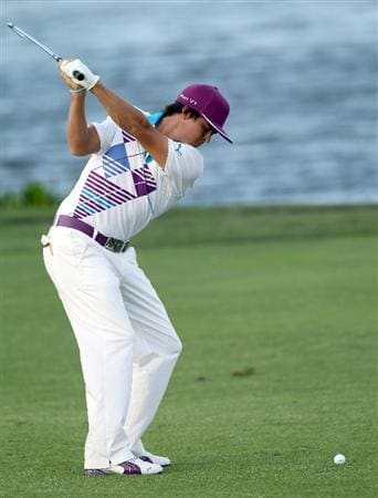 PALM BEACH GARDENS, FL - MARCH 03:  Rickie Fowler plays  a shot on the 17th hole during the first round of The Honda Classic at PGA National Resort and Spa on March 3, 2011 in Palm Beach Gardens, Florida.  (Photo by Sam Greenwood/Getty Images)