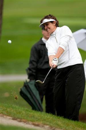 DANVILLE, CA - OCTOBER 17: Michele Redman plays a pitch shot during the final round of the CVS/Pharmacy LPGA Challenge at Blackhawk Country Club on October 16, 2010 in Danville, California. (Photo by Darren Carroll/Getty Images)