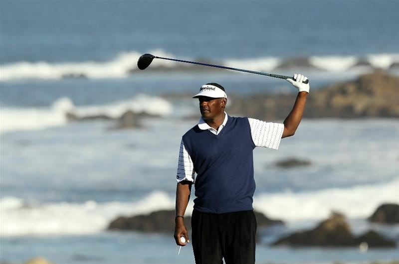 PEBBLE BEACH, CA - FEBRUARY 11:  Vijay Singh of Fiji waits to tee off on the 13th hole during the second round of the AT&T Pebble Beach National Pro-Am at Monterey Peninsula Country Club on February 11, 2011 in Pebble Beach, California.  (Photo by Ezra Shaw/Getty Images)