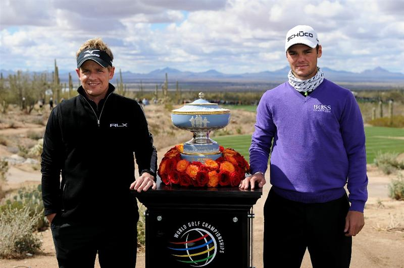 MARANA, AZ - FEBRUARY 27:  Luke Donald of England (L) and Martin Kaymer of Germany (R) smile next to The Walter Hagen Cup trophy on the first hole before playing the final round of the Accenture Match Play Championship at the Ritz-Carlton Golf Club on February 27, 2011 in Marana, Arizona.  (Photo by Stuart Franklin/Getty Images)