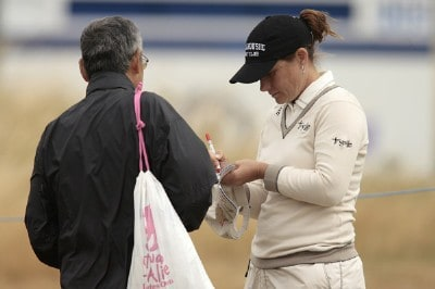 England's Karen Stupples signs an autograph during Pro-Am day before the 2006 Weetabix Women's British Open at the Royal Lytham and St. Annes Golf Club in Lytham, Great Britain on August 2, 2006.Photo by Pete Fontaine/WireImage.com