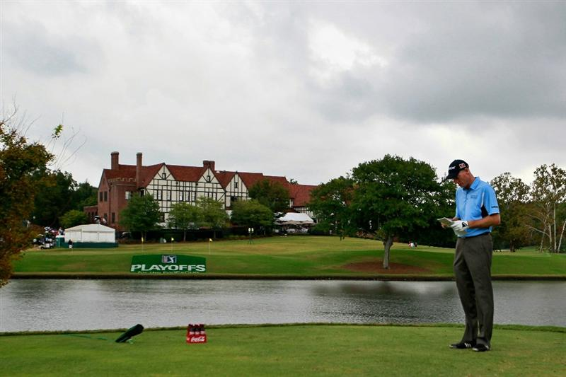 ATLANTA - SEPTEMBER 26:  Jim Furyk waits to tee off the seventh hole during the final round of THE TOUR Championship presented by Coca-Cola at East Lake Golf Club on September 26, 2010 in Atlanta, Georgia.  (Photo by Kevin C. Cox/Getty Images)