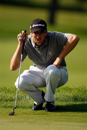 CHASKA, MN - AUGUST 13:  Sean O'Hair lines up a putt on the second green during the first round of the 91st PGA Championship at Hazeltine National Golf Club on August 13, 2009 in Chaska, Minnesota.  (Photo by Streeter Lecka/Getty Images)
