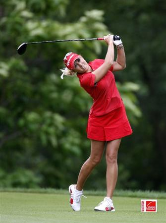 SYLVANIA, OH - JULY 03: Natalie Gulbis watches her drive on the ninth hole during the second round of the Jamie Farr Owens Corning Classic at Highland Hills Golf Club on July 3, 2009 in Sylvania, Ohio. (Photo by Gregory Shamus/Getty Images)