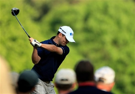 CHARLOTTE, NC - MAY 01:  Zach Johnson tee's off at the 4th during the first round of the Wachovia Championship at Quail Hollow Country Club on May 1, 2008 Charlotte, North Carolina.  (Photo by Richard Heathcote/Getty Images)