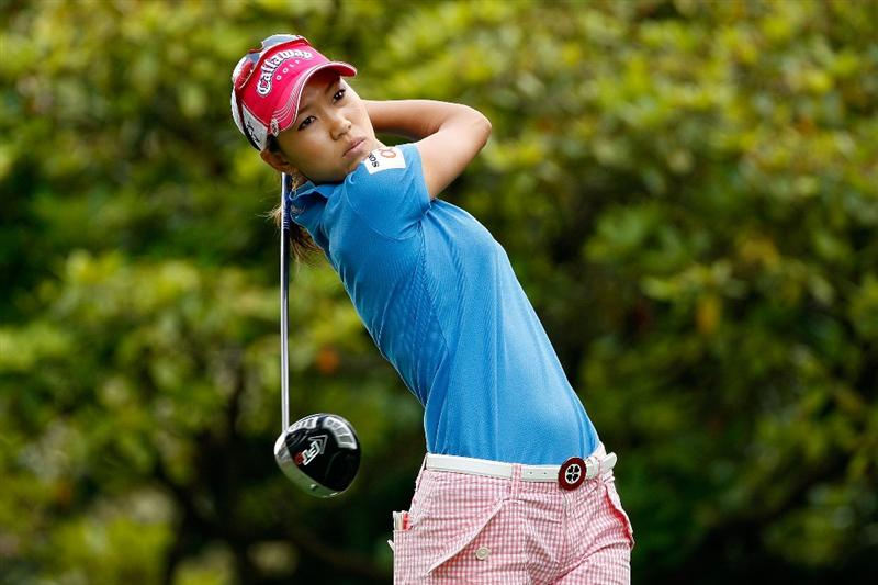 BETHLEHEM, PA - JULY 09:  Momoko Ueda of Japan tees off on the 16th hole during the first round of the 2009 U.S. Women's Open at Saucon Valley Country Club on July 9, 2009 in Bethlehem, Pennsylvania.  (Photo by Chris Graythen/Getty Images)