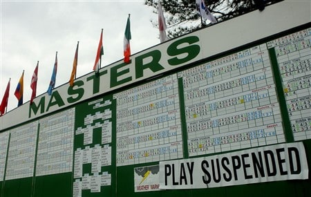 AUGUSTA, GA - APRIL 12:  The leaderboard announces that play has been suspended due to weather during the third round of the 2008 Masters Tournament at Augusta National Golf Club on April 12, 2008 in Augusta, Georgia.  (Photo by Andrew Redington/Getty Images)