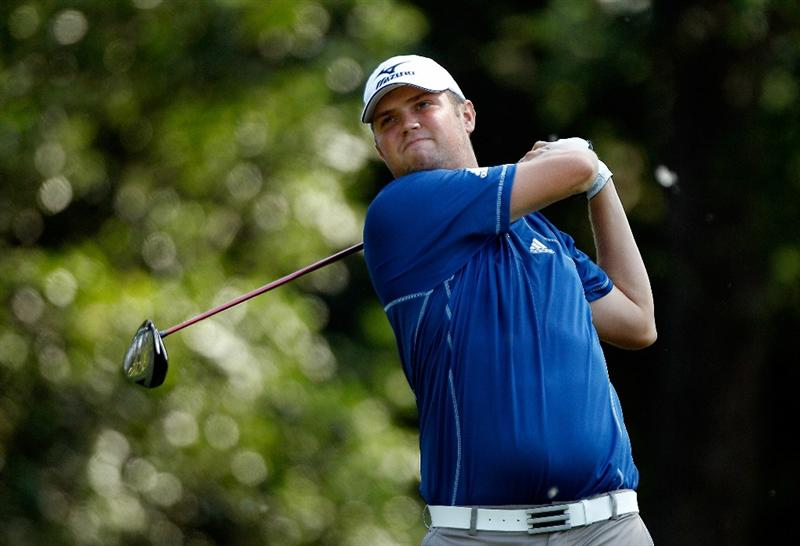 FT. WORTH, TX - MAY 27:  Jeff Overton watches his tee shot on the 12th hole during the first round of the 2010 Crowne Plaza Invitational at the Colonial Country Club on May 27, 2010 in Ft. Worth, Texas  (Photo by Scott Halleran/Getty Images)