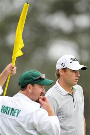 AUGUSTA, GA - APRIL 08:  Nick Watney (R) and his caddie Tim Goodell look on from the 17th green during the first round of the 2010 Masters Tournament at Augusta National Golf Club on April 8, 2010 in Augusta, Georgia.  (Photo by Jamie Squire/Getty Images)