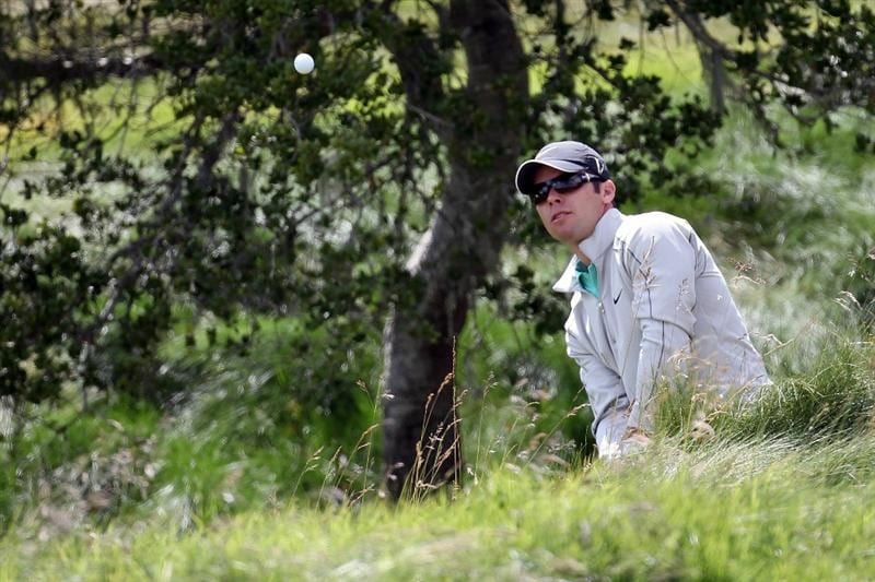 PEBBLE BEACH, CA - JUNE 19:  Paul Casey of England plays a shot from the rough on the second hole during the third round of the 110th U.S. Open at Pebble Beach Golf Links on June 19, 2010 in Pebble Beach, California.  (Photo by Ross Kinnaird/Getty Images)
