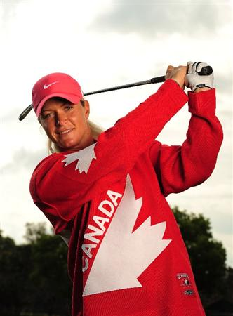 ORLANDO, FL - APRIL 11:  Suzann Pettersen of Norway poses with a Canadian hockey jersey as she prepares to defend her title at the CN Canadian Women's Open April 11, 2010 in Orlando, Florida.  (Photo by Rick Dole/Getty Images for the LPGA)