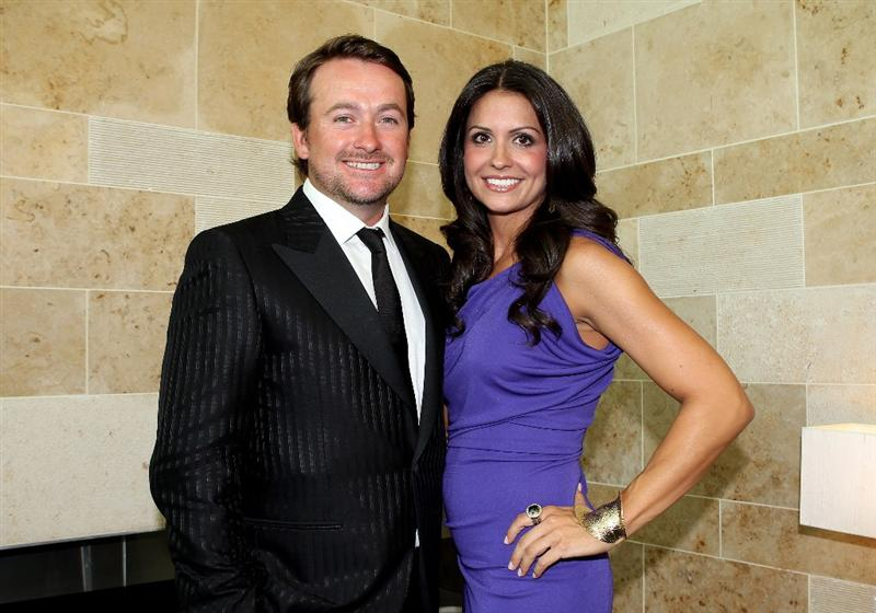 VIRGINIA WATER, ENGLAND - MAY 24:  Graeme McDowell poses with Kristen Stape during the European Tour Dinner at The Wentworth Club on May 24, 2011 in Virginia Water, England.  (Photo by Andrew Redington/Getty Images)