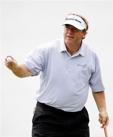 CARMEL, IN - JULY 30:  Joey Sindelar waves to the crowd after making a putt on the 18th hole during the first round of the 2009 U.S. Senior Open at Crooked Stick Golf Club on July 30, 2009 in Carmel, Indiana. (Photo by Jamie Squire/Getty Images)