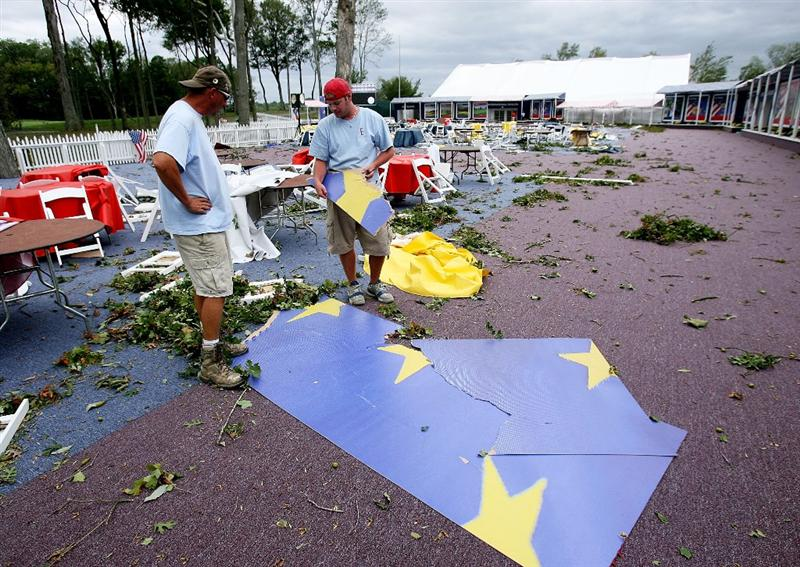 LOUISVILLE, KY - SEPTEMBER 14:  Damage from high winds is seen on the course prior to the 37th Ryder Cup at Valhalla Golf Club on September 14, 2008 in Louisville, Kentucky.  (Photo by Andy Lyons/Getty Images)