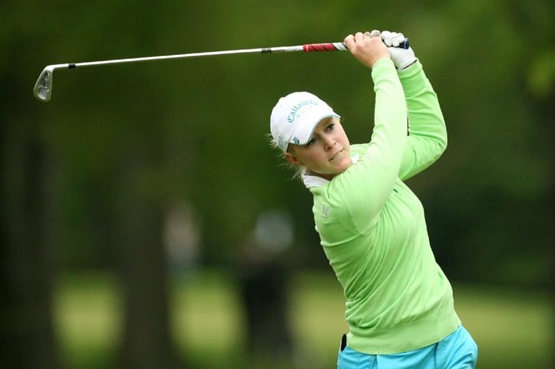CLIFTON, NJ - MAY 14 : Morgan Pressel hits her second shot on the 6th hole during the first round of the Sybase Classic presented by ShopRite at Upper Montclair Country Club on May 14, 2009 in Clifton, New Jersey. (Photo by Hunter Martin/Getty Images)