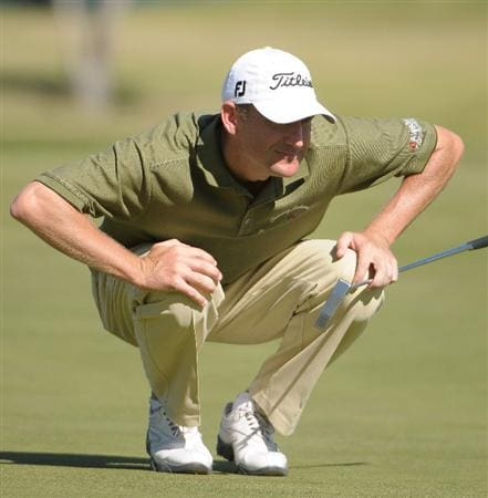 LAS VEGAS - OCTOBER 17:  George McNeill looks over a birdie putt on the 18th hole  during the third round of the Justin Timberlake Shriners Hospitals for Children Open at the TPC Summerlin on October 17, 2009  in Las Vegas, Nevada. (Photo by Marc Feldman/Getty Images)
