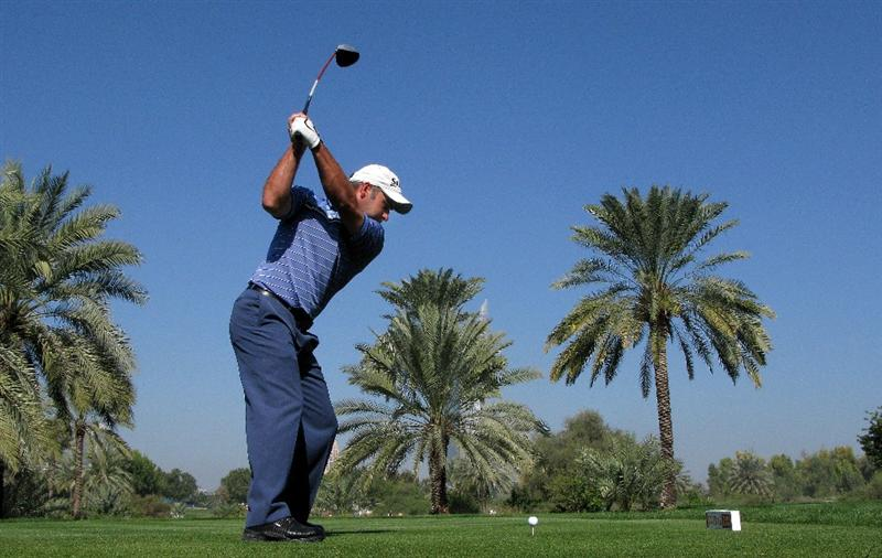 DUBAI, UNITED ARAB EMIRATES - JANUARY 30:  Hennie Otto of South Africa tees off on the 16th hole during the completion of the first round of the Dubai Desert Classic on the Majilis course at Emirates Golf Club on January 30, 2009 in Dubai, United Arab Emirates.  (Photo by Andrew Redington/Getty Images)