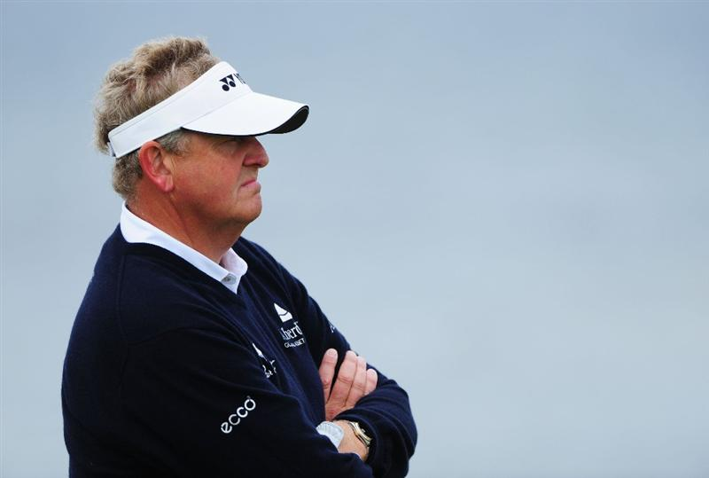 TURNBERRY, SCOTLAND - JULY 17:  Colin Montgomerie of Scotland looks on during round two of the 138th Open Championship on the Ailsa Course, Turnberry Golf Club on July 17, 2009 in Turnberry, Scotland.  (Photo by Stuart Franklin/Getty Images)
