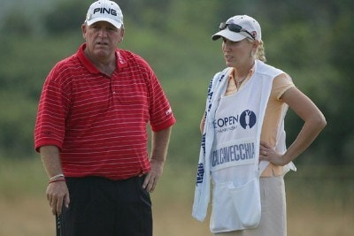Mark Calcavecchia and his caddie during the first round of the 135th Open Championship at Royal Liverpool Golf Club in Hoylake, Great Britain on July 20, 2006.Photo by Sam Greenwood/WireImage.com