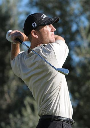 LAS VEGAS, NV- OCTOBER 16: George McNeill  tees off the par three 14th hole during the second round of the Justin Timberlake Shriners Hospitals for Childeren Open at the TPC Summerland on October 16, 2009  in Las Vegas, Nevada. (Photo by Marc Feldman/Getty Images)