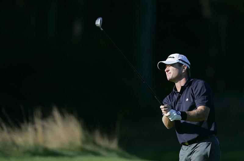 NORTON, MA - SEPTEMBER 04:  Scott Verplank of the United States plays a shot from the fairway during the first round of the Deutche Bank Championship at TPC Boston held on September 4, 2009 in Norton, Massachusetts.  (Photo by Michael Cohen/Getty Images)