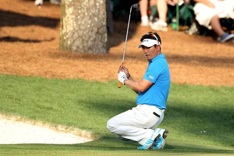 AUGUSTA, GA - APRIL 09:  Y.E. Yang of South Korea reacts to his chip shot on the 16th hole during the third round of the 2011 Masters Tournament at Augusta National Golf Club on April 9, 2011 in Augusta, Georgia.  (Photo by Andrew Redington/Getty Images)