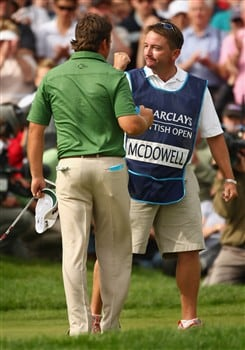 LUSS, UNITED KINGDOM - JULY 13:  Graeme McDowell of Northern Ireland celebrates victory on the 18th green with his caddy Ken Comboy during the Final Round of The Barclays Scottish Open at Loch Lomond Golf Club on July 13, 2008 in Luss, Scotland.  (Photo by Richard Heathcote/Getty Images)