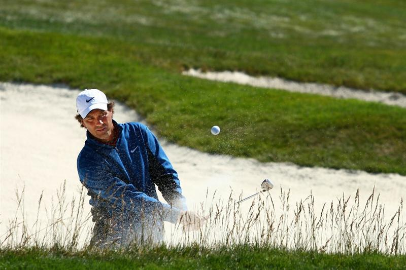 PEBBLE BEACH, CA - JUNE 16:  Stephen Ames of Canada hits a bunker shot on the during a practice round prior to the start of the 110th U.S. Open at Pebble Beach Golf Links on June 16, 2010 in Pebble Beach, California.  (Photo by Donald Miralle/Getty Images)