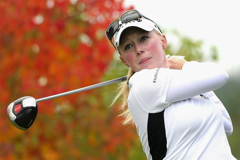 SHIMA, JAPAN - NOVEMBER 07:  Morgan Pressel of the United States makes a tee shot on the second hole during the first round of 2008 Mizuno Classic at Kintetsu Kashikojima Country Club on November 7, 2008 in Shima, Mie, Japan.  (Photo by Koichi Kamoshida/Getty Images)