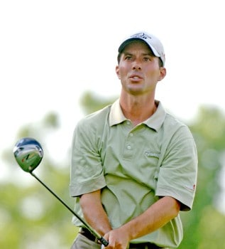 Mike Weir tees off on the 15th hole during the first round of the 2005 Cialis Western Open at Cog Hill Golf and Country Club in Lemont, Illinois on June 30, 2005.Photo by Al Messerschmidt/WireImage.com