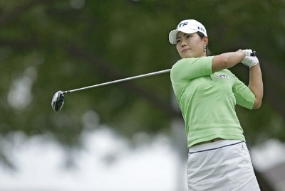 Meena Lee drives on the 17th tee during a sudden death playoff against Seon Hwa Lee at the Fields Open in Hawaii golf tournament Feb. 23, 2006 at the Ko Olina Resort Golf Club in Kapolei, on the island of Oahu, Hawaii.Photo by Marco Garcia/WireImage.com