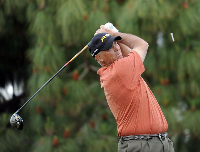NEWPORT BEACH, CA - MARCH 07:  Tom Lehman watches his tee shot on the 18th hole during the third round of the Toshiba Classic at the Newport Beach Country Club on March 7, 2010 in Newport Beach, California.  (Photo by Harry How/Getty Images)