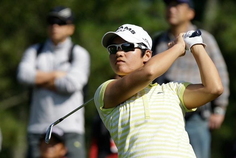 SHIMA, JAPAN - NOVEMBER 06:  Candie Kung of Taiwan plays a shot on the 8th hole during round two of the Mizuno Classic at Kintetsu Kashikojima Country Club on November 6, 2010 in Shima, Japan.  (Photo by Chung Sung-Jun/Getty Images)