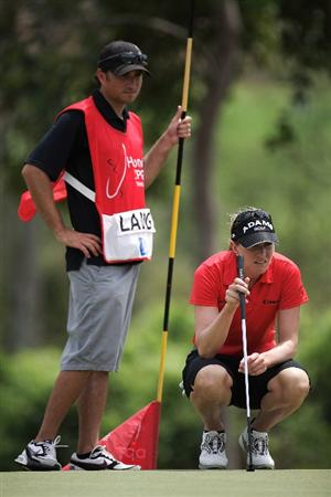 BANGKOK, THAILAND - FEBRUARY 27:  Brittany Lang of the USA lines up a put on the 3rd hole during day two of the Honda LPGA Thailand 2009 at Siam Country Club Plantation on February 27, 2009 in Pattaya, Chonburi, Thailand.  (Photo by Chumsak Kanoknan/Getty Images)