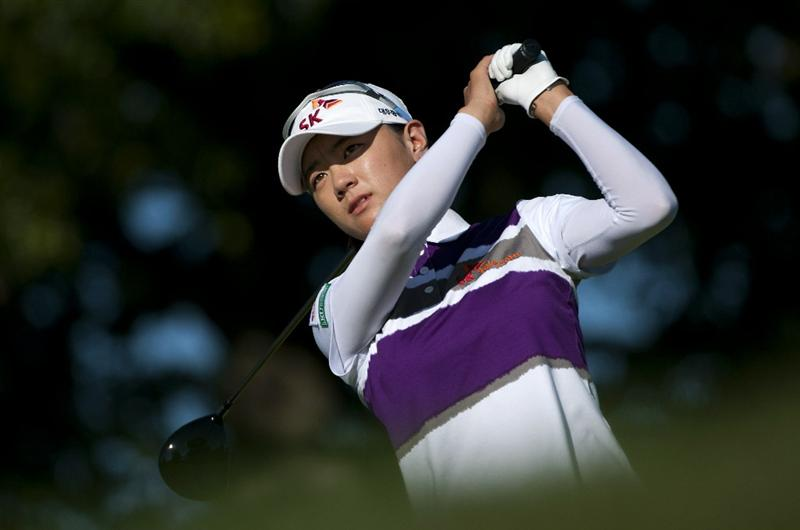 ROGERS, AR - SEPTEMBER 11:  Na Yeon Choi of South Korea makes a tee shot on the 18th hole during the second round of the P&G NW Arkansas Championship at the Pinnacle Country Club on September 11, 2010 in Rogers, Arkansas.  (Photo by Robert Laberge/Getty Images)