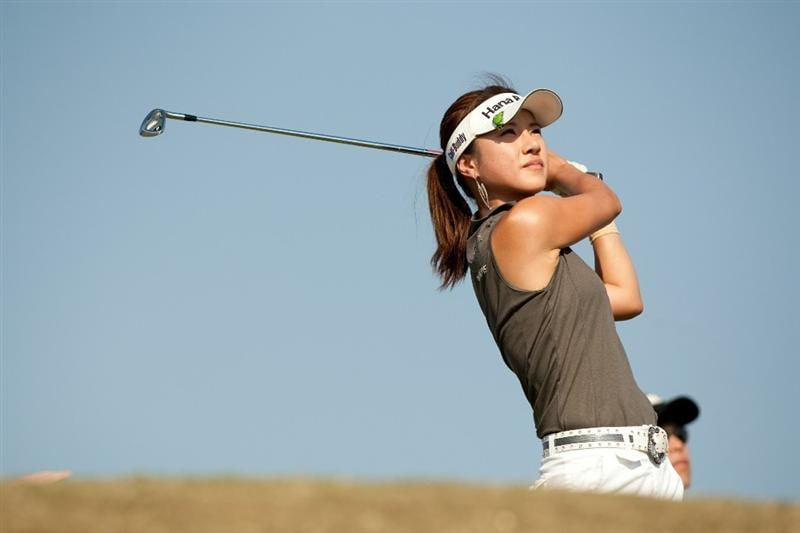 PRATTVILLE, AL - OCTOBER 10: Hee Young Park of South Korea follows through on a tee shot during the final round of the Navistar LPGA Classic at the Senator Course at the Robert Trent Jones Golf Trail on October 10, 2010 in Prattville, Alabama. (Photo by Darren Carroll/Getty Images)