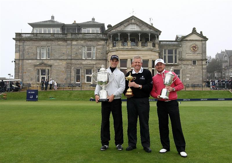 ST ANDREWS, SCOTLAND - OCTOBER 08: (L-R) Europe winners, Martin Kaymer of Germany, holding the Wanamaker trophy for winning the US PGA Championships, European Team captain Colin Montgomerie with the Ryder Cup and Graeme McDowell of Northern Ireland with his US Open Championship trophy  pose in front of the Royal & Ancient Clubhouse,  after the second round of The Alfred Dunhill Links Championship at The Old Course on October 8, 2010 in St Andrews, Scotland.  (Photo by Ross Kinnaird/Getty Images)