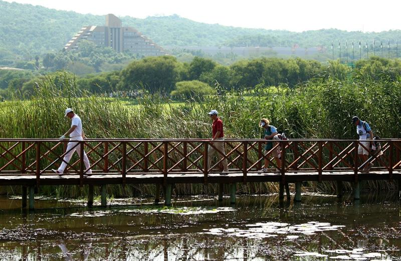 SUN CITY, SOUTH AFRICA - DECEMBER 07:  Robert Karlsson and Henrik Stenson of Sweden walk over a bridge to the 17th tee during the final round of the Nedbank Golf Challenge at the Gary Player Country Club on December 7, 2008 in Sun City, South Africa.  (Photo by Richard Heathcote/Getty Images)