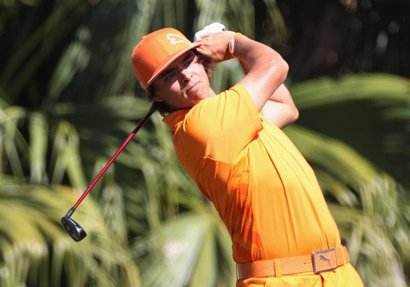 DORAL, FL - MARCH 13:  Rickie Fowler hits his tee shot on the 13th hole during the final round of the 2011 WGC- Cadillac Championship at the TPC Blue Monster at the Doral Golf Resort and Spa on March 13, 2011 in Doral, Florida.  (Photo by Sam Greenwood/Getty Images)